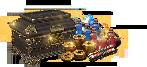 비천왕국의 봉인상자, 중형 마력 물약 100개, 중형 체력 물약 100개, , 동전 5만, 아공전서 5개